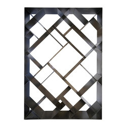 Noir - Noir - Small Diagonal Bookcase, Metal - Diagonal patterned metal book case