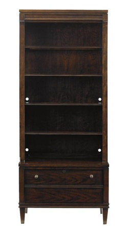 Stanley Furniture - Avalon Heights-Boulevard Bookcase - More than a display space for favorite books or treasured mementos, the Boulevard Bookcase also provides a file drawer with a working lock, making this design a welcome addition to an office, as well as the living room. The top deck section features five shelves and a touch light to illuminate your displayed items. The base houses the file drawer and extends out, mirroring the projecting frieze motif found throughout Avalon Heights. Combined they create a piece that is as practical as it is attractive.