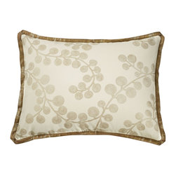 """Mystic Valley - Mystic Valley Traders Radiance Copper - Standard Sham with Insert - The Radiance Copper sham is fashioned from the Bough Gold fabric on each side, and finished with a Glimmer Copper flower flange; sold with polyester microfiber insert; standard 20""""x26""""."""