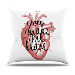 """Kess InHouse - Suzanne Carter """"Make Me Brave"""" White Red Throw Pillow (Outdoor, 18"""" x 18"""") - Decorate your backyard, patio or even take it on a picnic with the Kess Inhouse outdoor throw pillow! Complete your backyard by adding unique artwork, patterns, illustrations and colors! Be the envy of your neighbors and friends with this long lasting outdoor artistic and innovative pillow. These pillows are printed on both sides for added pizzazz!"""