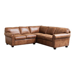 Diamond Sofa - Rexford Bomber Brown Blended Leather Sectional Sofa - The rustic sectional boasts chic styling with sleek curves and clean lines. The collection comes with a kiln-dried hardwood frame that is glued and reinforced to offer strength.