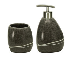 Stone - Polyresin Modern Bathroom Accessories Set of 2, Dark Grey - We have never seen anything like this!  This beautiful polyresin soap dispenser and tumbler is heavy in weight and looks exactly like it was carved from a granite boulder.  Smooth finish with carved accent in the side.  Just gorgeous.  Brushed chrome finish pump. Designed and produced in Germany.  Tumbler (W) 3.3in x (H) 3.75in ; Dispenser (W) 3.75in x (H) 6.5in - Holds 10oz of soap or lotion.