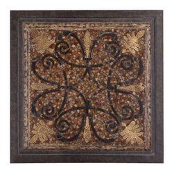 Uttermost Ardah Abstract Metal Wall Art - Dark rustic bronze frame with mosaic patterns finished in aged penshell, distressed black and eggshell. Dark, rustic bronze frame with mosaic patterns finished in aged penshell, distressed black and eggshell.