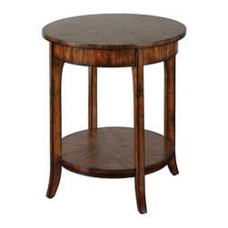 Old Barn Carmel Lamp Table - *Casual styling in warm, old barn finish with distressed primavera veneer.