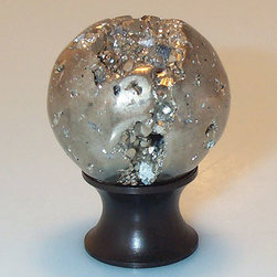 Pyrite Cabinet Knob - Hand carved Peruvian pyrite accents this cabinet knob. The knob features natural pyrite gemstones. Complete the set with other pyrite hardware.