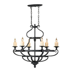 Murray Feiss - Murray Feiss F2517/6AF Antique Forged Iron Kings Table 6 Light 1 Tier Chandelier - Lamping Technologies: