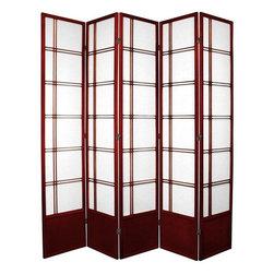 Oriental Furniture - 7 ft. Tall Double Cross Shoji Screen - Rosewood - 5 Panels - Inspired by traditional Japanese design and updated for the modern home, this extra tall Shoji rice paper room divider is a beautiful way to partition a room, add some privacy, or complement your home decor. Shoji rice paper has been used in Japanese homes for over a thousand years due to its beauty, translucence, and light weight. This screen combines this remarkable material with a stylish spruce frame to create an elegant folding screen suitable for any home or business.