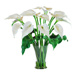 "Jane Seymour Botanicals - Calla Lilies in Glass Vase, 29"" - Long on elegance, calla lilies in a clear glass vase add instant drama to your decor. Better still, these remarkably realistic ""forever flowers"" bring just-cut charm that lasts."