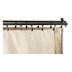 "Rod Desyne - Armor Double Curtain Track 66-120"" - Black - This Armor Track offers an added level of functionality from its effortless and smooth glide of curtains. Its sleek and modern design adds an elegant statement to any room. A baton draw affords the comfort of tangle-free cords.; Includes two 66-120 inch adjustable tracks, 30 sliders on each track, 60 hooks with clips, 5 double wall brackets, 2 batons and mounting hardware. Curtain not included.; Extremely smooth baton draw operating track with sliders that offer superior slide fit between inner and outer rod.; Track is 7/8 inch wide 1/2 inch tall. Steel construction with baton pulls for opening and closing the draperies; Wall to back track 3/4 inch, wall to front track 2-3/4 inch; Black Color; Weight: 3.75 lbs; Dimensions: 1""H x 66""W x 3.75""D"
