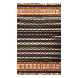 Jaipur Rugs - Flat-Weave Stripe Pattern Jute/ Chinille Black/Red Area Rug ( 8x10 ) - Java, tribal patterned collection, the mix of natural fibers and colorful chenille is both textural and colorful.