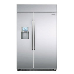 "Samsung - RS27FDBTNSR 48"" Side-By-Side Refrigerator with 8"" LCD Touchscreen Control Panel - The Samsung 48 Side-By-Side Refrigerator in stainless steel provides a massive amount of food storage space as well as Samsung39s most innovative technologies Designed to be truly built-in this refrigerator sits completely flush without countertop - ..."
