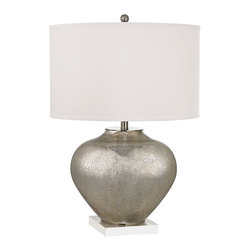 Dimond Lighting - Edenbridge 2-Light Table Lamp in Antique Silver Mercury Glass with Crystal - Dimond Lighting D2544 Edenbridge 2-Light Table Lamp in Antique Silver Mercury Glass with Crystal. Oversized glass table lamp with LED nightlight.
