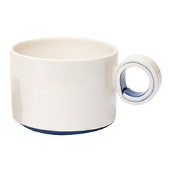 Handmade Ceramic Cappuccino Cup, Plum - A modern white cappuccino cup with the perfect hint of color you choose.  This cappuccino cup will make a perfect addition to any modern, contemporary, and/or traditional cup set in any household!  Handmade ceramic cappuccino cup, mostly white with line of color at base and around inner loop of handle.
