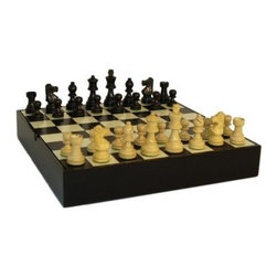 Black and Natural Wood French Knight Chess Set in Inlaid Black and Maple Chest - A totally elegant gift for chess aficionados. The Black and Natural Wood French Knight Chess Set in Inlaid Black and Maple Chest is a high quality decorative piece as well as a functional board for play. Mounted in a chest-style base made from maple wood the chess board has 1.5-inch squares in alternating inlaid black and natural maple colors. Small brass knobs mounted on the board let you lift it easily out of the base revealing divided storage underneath that safely organizes the chessmen. The pieces themselves are made from boxwood with weighted and felted bottoms; the two opposing sides are finished in stained black and natural wood. The board measures 12L x 12W x 2H inches and the Kings stand 3 inches tall.