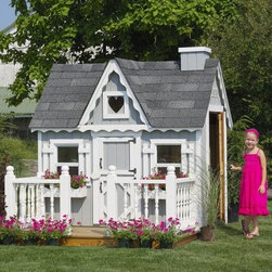 Little Cottage 4 x 6 Victorian Wood Playhouse - Make the ultimate playhouse experience for your children with the Little Cottage 4x6 Wood Victorian Playhouse. This easy-to-assemble house is uniquely designed for fun, imaginative play, with a beautiful blend of real-life features like working Plexiglass windows, two flowerboxes, and window shutters. Sized at approximately 6W x 4D x 6H feet, this playhouse will grow with your child and will be a memorable part of childhood.The Victorian-inspired design of this cottage appears in every detail, from the painted heart-shaped Plexiglass window in front, to the gingerbread trim, Dutch doors, and traditional spindle deck (optional). The house includes two working windows, complete with safety glass and screens, each measuring 12 x 18 inches. A child's Dutch door opens on the front of the house and measures 16W x 35H inches; an adult Dutch door on the side measures 16W x 47H inches. White aluminum trim for the outside corners is included, and all trim and siding is pre-primed and ready for you to paint whatever color you choose.Choose from a variety of configurations based on availability:-Playhouse (plus floor kit) only-Playhouse plus floor kit, plus outside deck and rail-Playhouse plus floor kit, deck and rail, and chimney (as shown)Your playhouse arrives complete with wood wall and truss framing, high-quality siding and trim pre-fastened to wall panels, and pre-cut, paneled sections. Hardware is also included.This playhouse is built from LP Smart Side, which is an environmentally friendly, renewable material with low environmental impact. Treated with SmartGuard, which uses zinc borates to resist rot and mold, LP Smart Side is on the cutting edge of building technology today, and is a durable and safe alternative that ensures years of enjoyment from your playhouse. Thanks to the durability of this material, LP offers a 50-year limited warranty.Shingles, dripedge (roof edging), and paint are not included but are available at any local hardware store. If you choose the configuration that includes the deck, you will also have to supply three 4 x 4-foot posts for under-floor support.About The Little Cottage CompanyNestled in the heart of Ohio's Amish country, The Little Cottage Company resides in a quaint, slow-paced setting where old-fashioned craftsmanship and attention to detail have never gone out of style. Our experienced carpenters and skilled designers take great pride in creating top-quality, pre-built models and Do-It-Yourself kits of playhouses, storage sheds, and more.