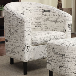 Coaster - Accent Chair - Add a vintage style to your room as well as extra seating with this 2 piece chair and ottoman set. Wrapped in a French Script pattern fabric.