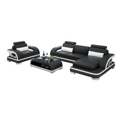 Scene Furniture - Mini Cobra Sectional w Side Chair, Black W Snow White Trim, No Matching Coffee T - The Mini Cobra Sectional with Side Chair is a new sofa design from Scene Furniture. The set conveniently fits in large or small rooms and the ultra modern style is sure to impress all your guests. The matching throw pillows are included. The matching table is optional.