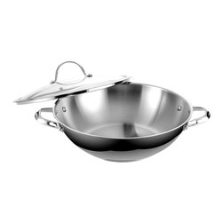 """Cooks Standard - Cooks Standard 13-inch 32cm Chef's Pan with Cover, Large, stainless steel, 00352 - What is """"Impact Bonding Technology""""? Compare to traditional """"Brazing Bonding"""", """"Impact Bonding"""" technology is advanced method to apply aluminum disc to the bottom of cookware, under huge impact pressure, the aluminum disc is heated to almost melting soft, then aluminum spread to the outside edge of the pan, create a secure bonding to bottom of cookware, so heat distribution is very even along the bottom, preventing hot spot in bottom area, """"Impact Bonding"""" made this type cookware significantly superior than traditional type of cookware."""