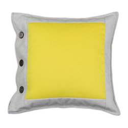 Sun Pillow - Love the Pantone swatches? This yellow linen pillow recalls the look of the classic color panels. Place this on your sofa or bed for style that pops with bold color. Three buttons along the side create a nicely tucked-in look. Made in Iowa.
