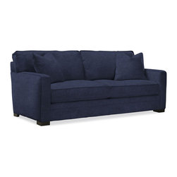 MEYER SLIPCOVER SOFA - This sofa's simplicity makes it perfect for adding seating to absolutely any room and provides an elegant backdrop to display bold pillows. Choose from a variety of fine slipcover fabrics—velvet, linen, and cotton. This piece will be custom-made in the USA, so please allow 6 to 8 weeks for delivery.