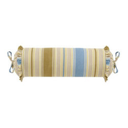 """Horchow - Striped Neckroll Pillow - Winchester rooster toile comforter sets include corded toile comforter, two ruffled toile shams, and striped dust skirt with 17"""" drop. Coordinating accessories, including toile curtains, are also available. Made in the USA of cotton/linen in blue and...."""