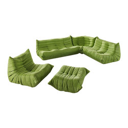 Modway - Modway EEI-558 Waverunner Sofa Set in Green - Provide natural comfort at every gathering with a balanced set of functional symmetry. Observe as Waverunner interplays ergonomics with dense foam cushioning to precisely reflect full relaxation. Wander through the pathways of elucidation with a multi-layered environment of intricate folds and holistic positioning.