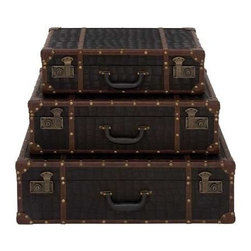 Benzara - Set of Three Wooden Leather Encased Suitcases - Set of three wooden leather encased suitcases. This Set of three leather encased case is a sight of elegance and style. Some assembly may be required.