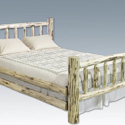 """Montana Woodworks - Montana Log Bed, Queen, Lacquered - This classic, spindle style log bed has graced American homes throughout the land. A wonderful addition to any rustic style home or any home in need of some rustic style, this bed is as comfortable as it is charming. Handcrafted in Montana using solid, American grown wood, each piece is skip peeled by hand using old-fashioned draw knives for a one-of-a-kind look, making this piece as unique as it is functional. The mortise and tenon joinery system employed by our artisans has been used for millennia to join multiple components into a single, solid and strong assembly thus ensuring a truly heirloom quality piece that will last for generations to come. Two log side rails per side increase the strength and rigidity while simultaneously adding value. Some assembly required. 20-year limited warranty included at no additional charge. Hand Crafted in Montana U.S.A.; Solid, U.S. grown wood; Skip-peeled by hand using old fashioned draw knives.; Heirloom Quality; 20 Year Limited Warranty; Durable Build, Fit and Finish; Each Piece Signed By The Artisan Who Makes It; Mortise and Tenon Joinery; Double Side Rails w/ Steel Attachment Points and Wooden Slat Supports. Dimensions: 66""""W x 94""""L x 47""""H"""
