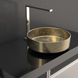 MaestroBath - Outdoor Modern Gold Wash Basin - Circular with a narrow straight wall, Rho Lux is perfect for any elegant and contemporary space. It is available in gold and silver shades which will generate amazing reflections on the outside and inside. The special polymer used to create this wash basin, PERT, is very light weight and durable and makes Rho Lux an excellent candidate for outdoors use such as pool side, BBQ area, etc.