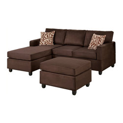 Poundex - Poundex Bobkona Manhattan Reversible Microfiber 3-Piece Sectional in Chocolate - Poundex - Sectionals - F7661 - This sectional collection is available in a multitude of colors in a smooth microfiber. Its versatility and style is great for den and standard living room spaces. Accented with brown and white zebra print pillow, this collection also features a classic plush cocktail ottoman. Enjoy the experience of modern decor with a practical and functional composition.