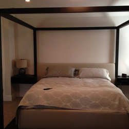 Four post Platform Bed - This photo also shows the optional matching floating night stands.  Ben Anderson