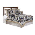 Pem America - Buxton Full / Queen Quilt - Buxton is a classic patchwork quilt in 100% cotton face materials with cotton fill. The unique pattern brings a modern look to a classic quilting style. Full / Queen Quilt measures 86 inches by 86 inches. Prewashed for comfort. Face cloth is 100% cotton.