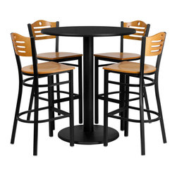 "Flash Furniture - 36"" Round Black Table Set with 4 Wood Slat Bar Stools - Natural Wood Seat - 36 in.  Round Black Laminate Table Set with 4 Wood Slat Back Metal Bar Stools - Natural Wood Seat"