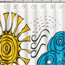 rain or shine shower curtain - chance of showers. 50/50 forecast illustrates pool blue rain clouds, yellow solar power, bursts of lightning in a design by Verity Freebern. Graphic charcoal outline on slubby white canvas with oversized power grommets in rustproof brass. Learn about the designer, Verity Freebern, on our blog.- Designed by Verity Freebern- Graphic weather design on 100% cotton- Grommets are rust-proof brass- Machine wash- Made in India