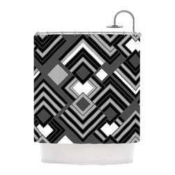 """Kess InHouse - Jacqueline Milton """"Luca - Monochrome"""" Black White Shower Curtain - Finally waterproof artwork for the bathroom, otherwise known as our limited edition Kess InHouse shower curtain. This shower curtain is so artistic and inventive, you'd better get used to dropping the soap. We're so lucky to have so many wonderful artists that you'll probably want to order more than one and switch them every season. You're sure to impress your guests with your bathroom gallery in addition to your loveable shower singing."""