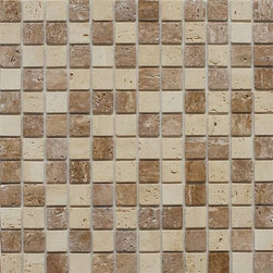 EKB Innovations EKB-04-104 Peel-n-Stick Stone Mosaic Tiles, Dark Brown/Beige - I love these beautiful small square stones in great neutral colors.