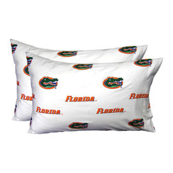 College Covers - NCAA Florida Gators Pillowcases Two-Pack White Set - Features: