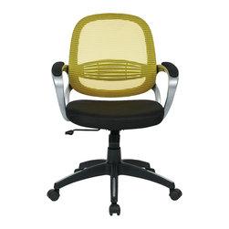 Office Star - Bridgeport Office Chair, Yellow - The Bridgeport Office Chair is a mesh-back ergonomic office chair by Office Star, available in 4 colors.