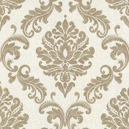 Sebastion Gold Damask Wallpaper. - A glamorous damask wallpaper, balancing the contrast of matte linen with a hint of gold glitter.