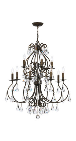 Crystorama Lighting Group - Ashton English Bronze 12-Light Chandelier with Hand Cut Crystal - - Grace never goes out of style. Ashton is a collection designed for today, tomorrow and everyday. It takes the notion of a crystal chandelier beyond traditional. Features include modern hand painted finishes in English Bronze or Olde Silver, graceful lines and updated crystal shape  - Crystorama chandeliers combine high-style design with premium materials and manufacturing techniques  - Chain or Rod Length: 72 Inch  - Wire Length: 120 Inch Crystorama Lighting Group - 5017-EB-CL-MWP