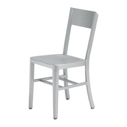 Kathy Kuo Home - Wooster Industrial Loft Outdoor Safe Aluminum Dining Chair - Pair - Simple and elegant, these two Industrial aluminum cafe chairs are the perfect pair. Whether you need seating at a slightly taller outdoor patio table or an indoor breakfast bar, these brushed silver chairs have clean lines and angular shapes, for a modern take on comfort.