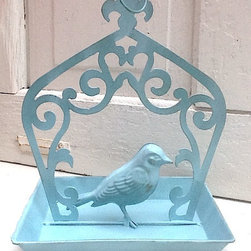 French Farmhouse Bird Feeder, Aqua by Camilla Cotton - This precious farmhouse-style bird feeder will bring the birds to your patio or outdoor space. It could also be used as an outdoor napkin or condiment holder.