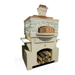 Fire Pie Colonial Pizza Oven Package - Copper and stone elements blend together to create the Fire Pie Colonial Pizza Oven Package. Its chic design will complement your outdoor decor perfectly. -Mantels  Direct