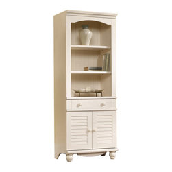Sauder - Sauder Harbor View Library with Doors in Antiqued White - Sauder - Bookcases - 158082
