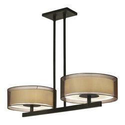 Sonneman Lighting - Sonneman Lighting Puri Contemporary Kitchen Island / Billiard Light X-15.0006 - Inner Shade: Off-White Linen with White Glass Diffuser