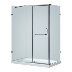 """Aston - Aston 60x35, Semi-Frameless Shower Enclosure, Stainless with Left Shower Base - A modern bath fixture that is as luxurious as it is practical; the SEN975 semi-frameless hinge pivot enclosure is the perfect solution for an upcoming remodel project. With 3/8"""" (10mm) ANSI-certified tempered clear glass, chrome or stainless steel finish hardware, clear premium leak-seal strips, durable steel supports and an optional 2.5"""" low profile fiberglass-reinforced shower base, you will experience the stability and support you desire. This model includes a 2.5"""" low-profile acrylic fiberglass-enforced base."""