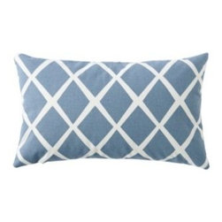 Serena & Lily - Diamond Lumbar Pillow Cover Chambray - Such a simple design, yet so striking. On a backdrop of chambray blue, the loosened-up lines in soft white take on the look of a block print. We love the idea of mixing several shades together to create the ultimate color story.