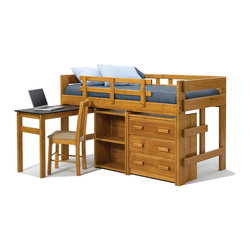 Chelsea Home Furniture - Chelsea Home Twin Mini Loft Bed with Pull Out Desk and Storage in Honey - Providing home elegance in upholstery products such as recliners, stationary upholstery, leather, and accent furniture including chairs, chaises, and benches is the most important part of Chelsea Home Furniture's operations. Bringing high quality, classic and traditional designs that remain fresh for generations to customers' homes is no burden, but a love for hospitality and home beauty. The majority of Chelsea Home Furniture's products are made in the USA, while all are sought after throughout the industry and will remain a staple in home furnishings.