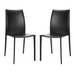 Safavieh - Korbin Side Chair (Set Of 2) - Inspired by chic Italian design, the Korbin side chair (sold in a set of two) will be your most sophisticated dinner guest. Crafted with black bonded leather over a sturdy metal frame, its clean transitional lines impart contemporary European style to the living room, dining room, or home office. (Sold in a set of two)