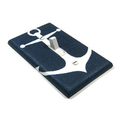 Modern Switch - Navy Blue Large Anchor Light Switch Cover - This light switch cover is made when ordered please allow 1-2 weeks before shipping.